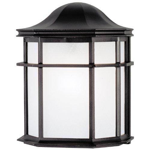 Westinghouse 6689800 One-light Exterior Wall Lantern Textured Black Finish On Cast Aluminum With White Acrylic