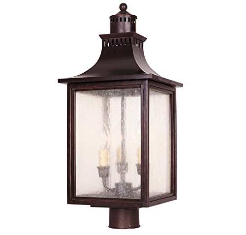 Savoy House Lighting 5-255-13  Monte Grande Collection 3-light Outdoor Post Mount Lantern English Bronze Finish
