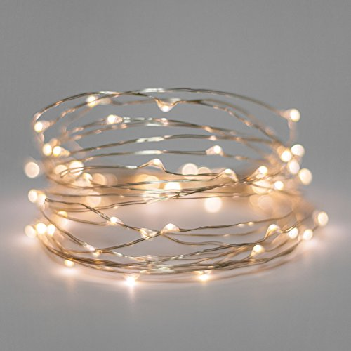 Starry Lights Mini Sets 20 Warm White Micro LEDs on 65 Foot Silver Wire Battery Powered With OnOff Switch