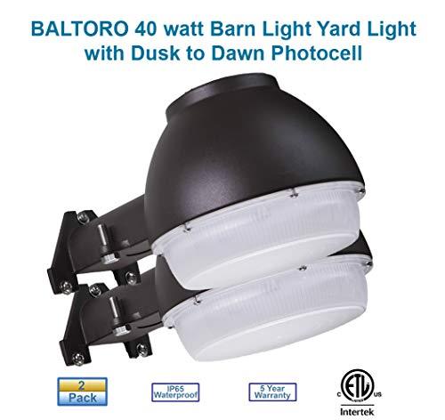 Baltoro Dusk-to-Dawn Outdoor Barn Light LED with Photocell 5000K Daylight Bright Ideal for Yard Light Barn Security Light Flood Light 40w 400W Equiv Large Area Light ETL-Listed Wet Location
