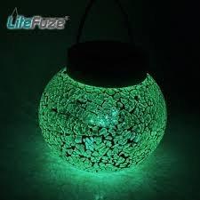 Litefuze Mosaic Glass Rechargeable Solar Lamp Outdoor Garden String Light - Green