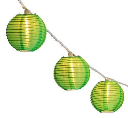 Oriental Lantern Outdoor Indoor String Lights 11 Feet Length 10 Lights Green
