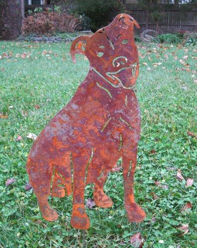 Pit Bull Garden Stake  American  Pitbull  Garden Art  Pet Memorial  Lawn Spike  Shadow  Cut Out  Metal  Silhouette  Spike