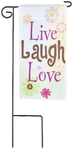 Miniture Inspirational Flag - Live Laugh Love Mini Garden Flag - Garden Accent Plant Stake Banner Flag