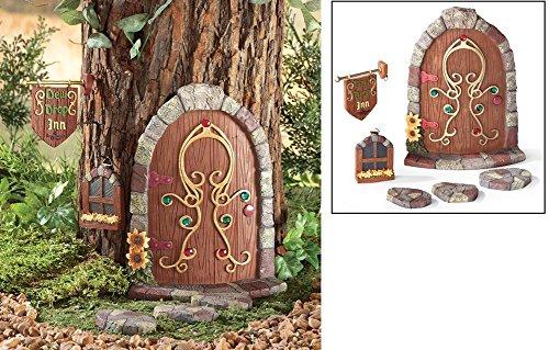 A Six Pieces Set Cute Dew Drop Inn Fairy Gnome Tree Decoration OutDoor Garden Accent