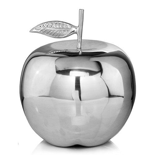 Modern Day Accents Large Manzano XL Polished Figurine Silver Apple Fruit Tabletop Accents Transitional Teacher School Décor Desk Aluminum L x 12 W x 13 H