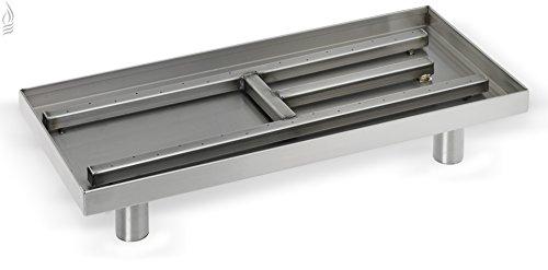American Fireglass Rectangular IndoorOutdoor Stainless Steel Fireplace Pan Burner 22 Inch