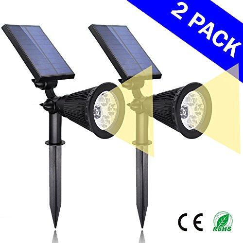 Solar Warm Lights 2-in-1 Led Outdoor Landscape Lighting - 200 Lumens Spotlightndash 2 Packndash Easy To Install Lights