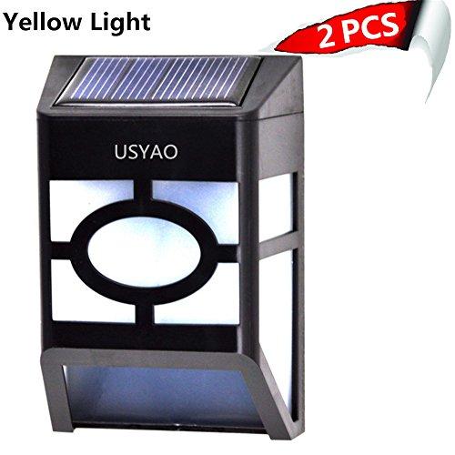 pack Of 2 Usyao Solar Powered 2 Led Landscape Wall Light Waterproof Check Pattern Decoration Of Path Pool Courtyard