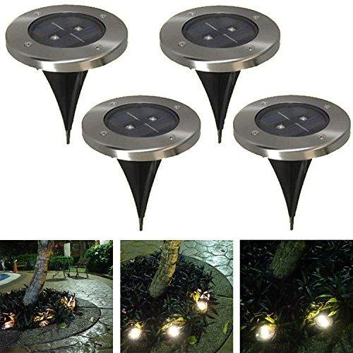 LUNE 2X Solar Ground Light 4-Pack for Garden Landscape Lighting Pathway Stairway