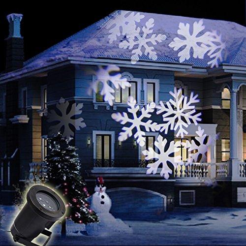 GAXmi LED Landscape Spotlights Fairy Snowflake Pattern Garden Wall Christmas Wedding Outdoor Waterproof Projected Lighting White