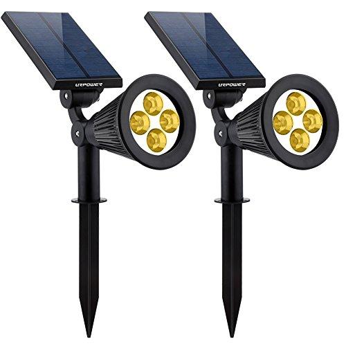 Urpower Solar Lights 2-in-1 Solar Powered 4 Led Adjustable Spotlight Wall Light Landscape Light Bright And Dark