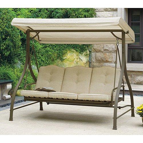 Mainstays 3 Seat Porch Patio Swing Tan