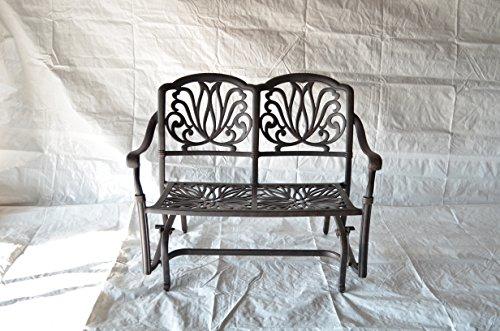 Elizabeth Outdoor Patio Glider Love Seat Cast Aluminum Dark Bronze Color Set of 2 Walnut Cushions