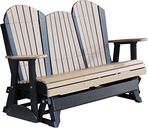Outdoor Polywood 5 Foot Porch Glider - Adirondack Design WEATHERWOODBLACK Color