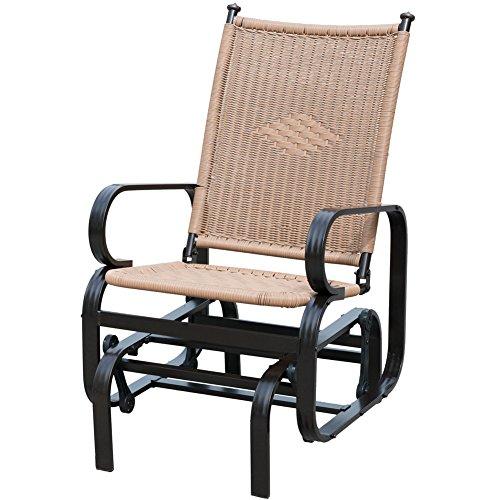 PatioPost Outdoor PE Wicker Rattan Patio Glider Chair Porch Swing Chair - Tan