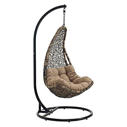 LexMod EEI-2276-BLK-MOC-SET Abate Outdoor Patio Swing Chair Black Mocha