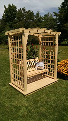 A L Furniture 5 Cambridge Arbor with Deck Swing Walk Thru 60W x 40D x 81H Outside 75W x 47D x 90H Unfinished