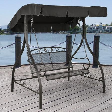 Outdoor Porch Swing Deck Furniture With Adjustable Canopy Awning - Clearance Sale Weather Resistant Wrought Iron