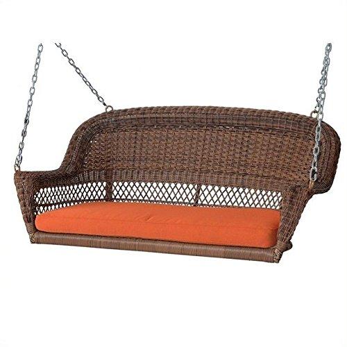 Jeco Honey Wicker Porch Swing with Orange Cushion