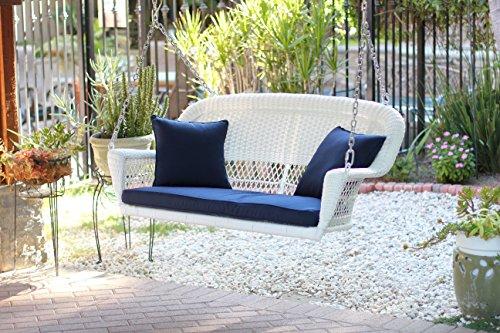 Jeco W00206S-B-FS011 White Wicker Porch Swing With Blue Cushion