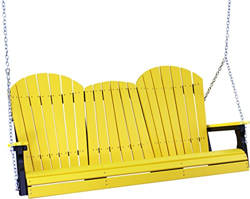 Outdoor Poly lumber wood 5 Foot Porch Swing - Adirondack Design-Yellow Color