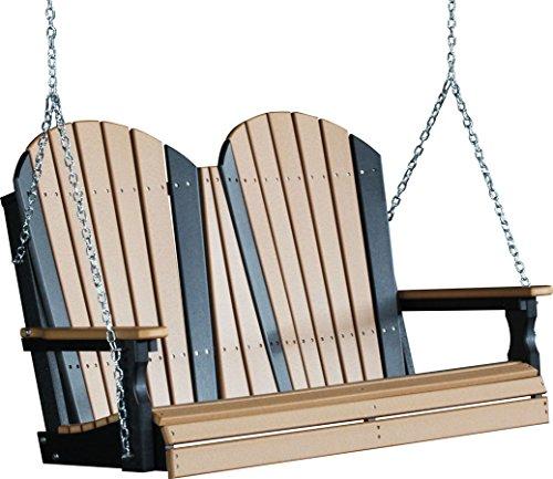 Outdoor Poly 4 Foot Porch Swing - Adirondack Design -Cedar and Black Color