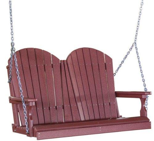 Outdoor Poly 4 Foot Porch Swing - Adirondack Design-Cherrywood Color