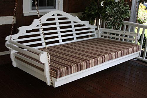 6 Foot Outdoor Swing Bed Mattress CUSHION ONLY 4 INCHES THICK Sundown Material- Bright Red