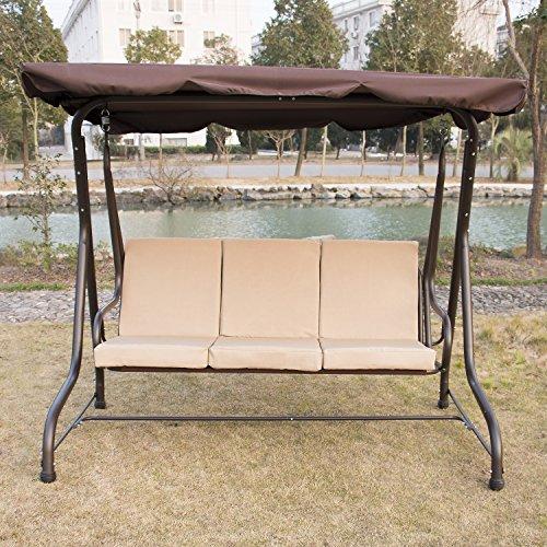 Walcut Outdoor 3 person Canopy Swing Glider Hammock Chair Patio Backyard love-seat Beach Porch Furniture sand seat coffee canopy