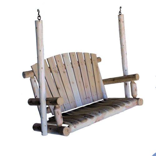 Lakeland Mills 4-foot Cedar Log Porch Swing Natural