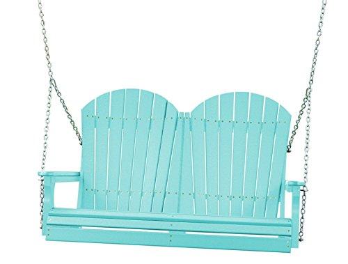 Outdoor Poly 4 Foot Porch Swing - Adirondack Design aruba Blue Color