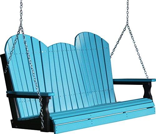 Outdoor Poly 5 Foot Porch Swing - Adirondack Design -aruba Blue And Black Color