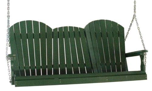 Outdoor Poly 5 Foot Porch Swing - Adirondack Design -green Color