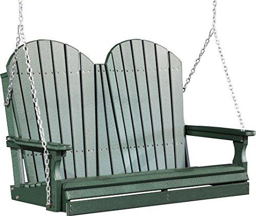 Outdoor Polywood 4 Foot Porch Swing - Adirondack Design green Color