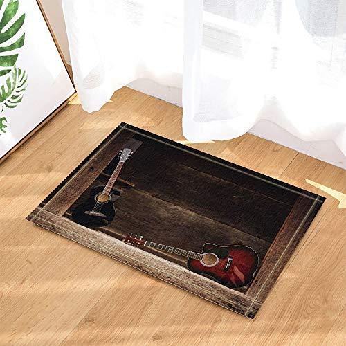 GoHeBe Music Decor Guitar Leaning on Wooden Porch Bath Rugs Non-Slip Doormat Floor Entryways Indoor Front Door Mat Kids Bath Mat 157x236in Bathroom Accessories