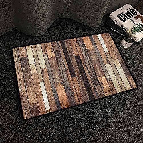 Xlcsomf Indoor and Outdoor Door mats Wooden for porches Brown Old Hardwood Floor Plank Grunge Lodge Garage Loft Natural Rural Graphic Artsy Print BrownW30 x L39