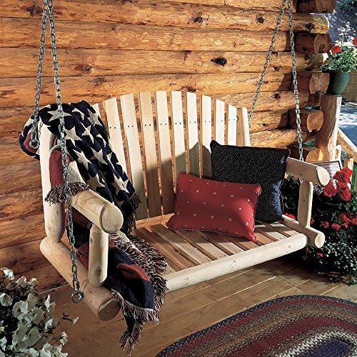 Rustic Natural Cedar Furniture 4-ft Log Porch Swing
