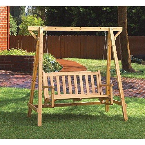 Wooden Swing Rustic Bench Patio Porch Garden Pine Relax Outdoor Furniture po455k5u 7rk-b243769