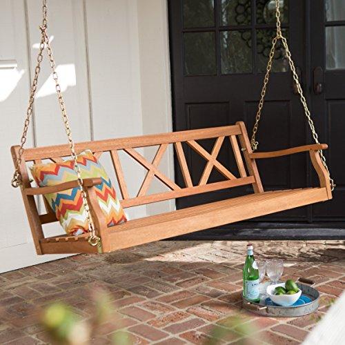 Belham Living Brighton 5 ft Wood Porch Swing Natural