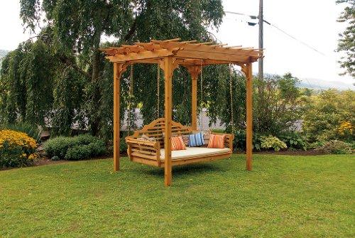 Marlboro 6 ft Cedar SWING BED 8 x 8 PERGOLA - LINDEN LEAF STAIN