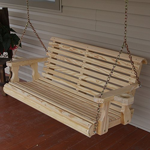 Amish Heavy Duty 800 Lb Roll Back 4ft Treated Porch Swing With Cupholders