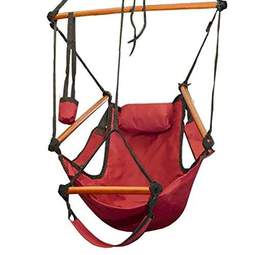 Giantex Outdoor Indoor Hammock Hanging Chair Air Deluxe Sky Swing Chair Solid Wood 250lb Red