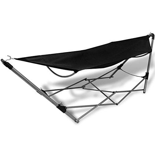 Outdoor Summer Portable Folding Hammock Ideal for Camping Beach Garden Backyard Relax Black