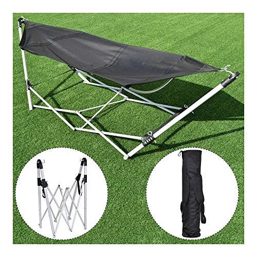 Portable Folding Hammock Beach Lounge Camping Bed WBag Steel Frame Stand Black