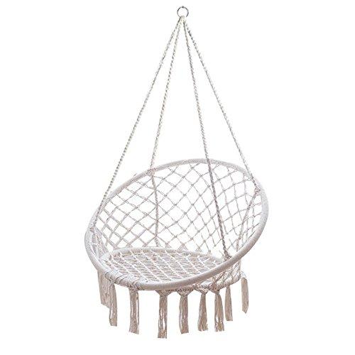 Mandycng Full Set Portable Hammock Chair Swing Home Outdoor Camp Yard Hanging Chair 120 kilograms Beige Garden