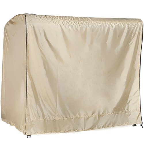 Abba Patio OutdoorPorch 3 Triple Seater Hammock Canopy Swing Cover All Weather Protection Tan Color