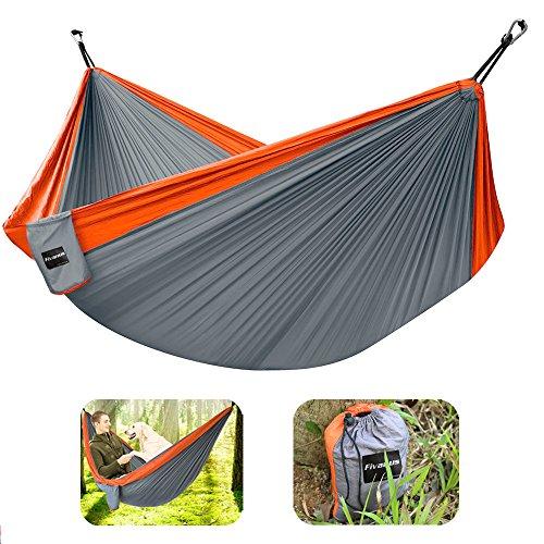 Hammock Fivanus Parachute Camping Hammock Tents Nylon Fabric Portable Patio Hammock with Hanging Rope and CarabinersOrange and Charcoal