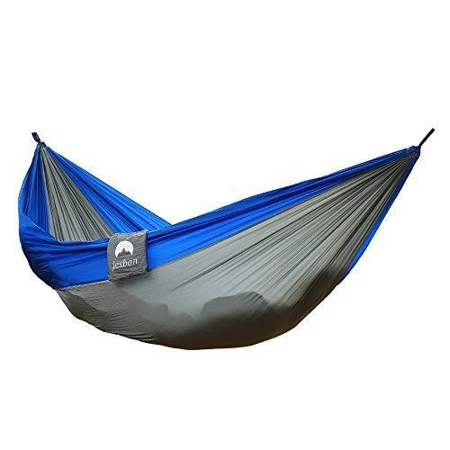 JESBAN Double Camping Hammock Portable Parachute Nylon Fabric Travel HammockLGreyRBlue