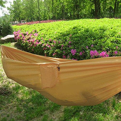 Portable Camping Outdoor Backyard Travel Hammock Nylon Fabric Yellow